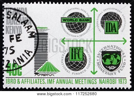 KENYA UGANDA TANZANIA - CIRCA 1973: a stamp printed in Kenya Uganda Tanzania shows International Bank for Reconstruction and Development circa 1973