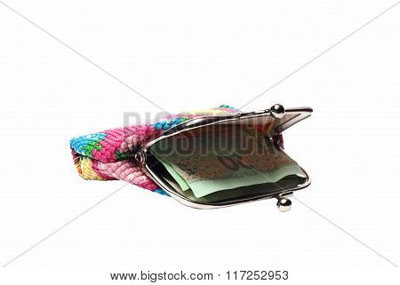 Small Colorful Wallet Of The Hryvnia On A White Background