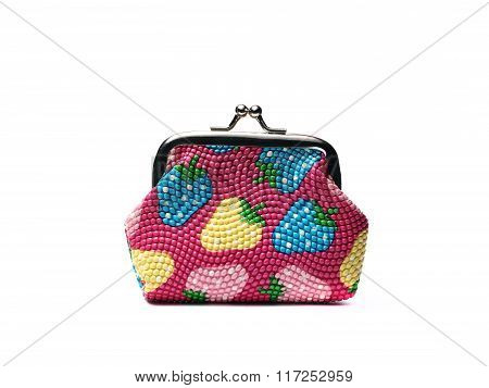Small Colorful Wallet On A White Background