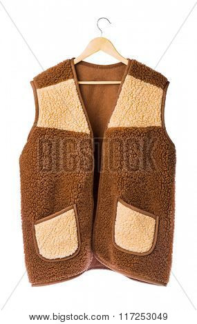 Winter fur vest isolated on white background
