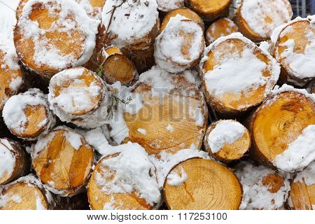 Chopped firewood logs in a pile - wood background