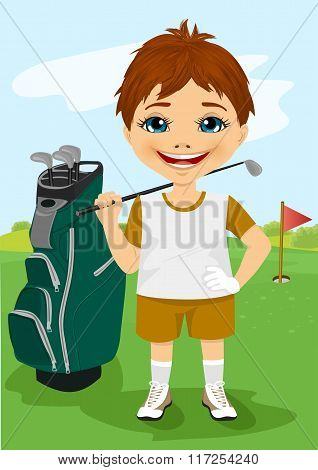 Young little boy with a golf club