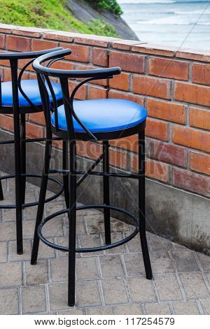 bar stool in a cafe on the ocean