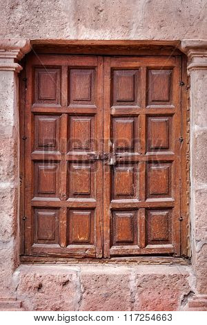 closed wooden and ancient door