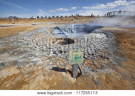High Temperature Attention Sign Near Fumarole