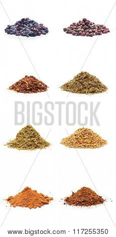 Colorful spices variety collection isolated on white background