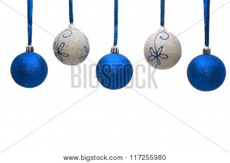 Colourful Christmas Balls Hanging On White Background