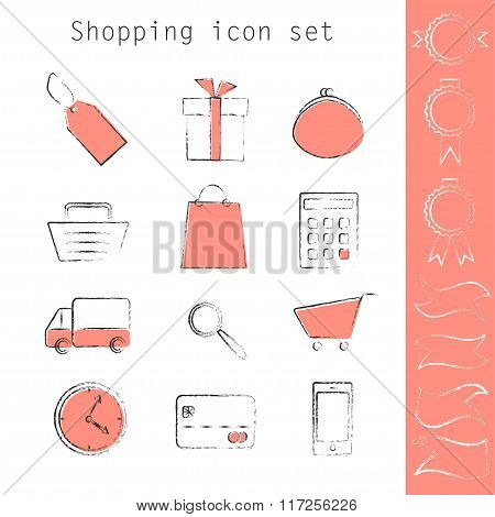 Line Art Shopping Icon Set With Color Spots And Ribbons.