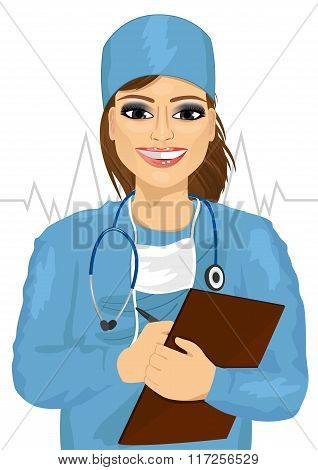 female doctor or nurse with stethoscope taking notes