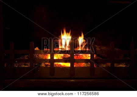 Fire Burning In Grate