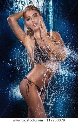 Sexy Blonde Woman Posing Wet.