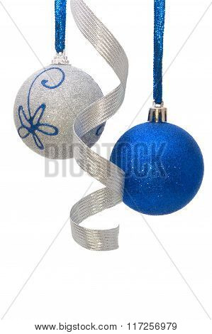 Blue And Silver Christmas Balls With Curly Silver Ribbon