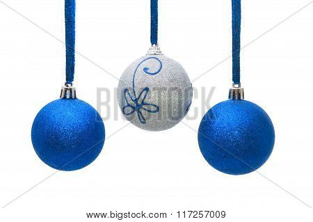 Blue And Silver Christmas Balls Hanging On White Background