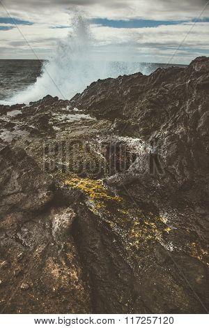Waves Crashing on the Rocks at Halona Blowhole