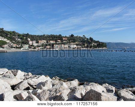 Landscape Of Golfo Dei Poeti With Its Mussel Farm In The Sea. Province Of La Spezia, Italy
