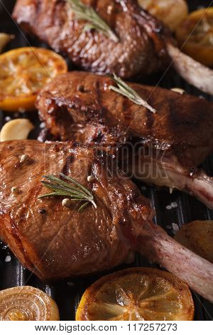 Juicy Beef Steak With Spices On The Grill Macro. Vertical
