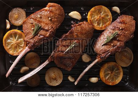 Juicy Beef Steak With Spices On The Grill Close Up. Horizontal Top View