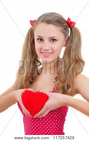 Smiling Teenage Girl With Red Heart Isolated On White