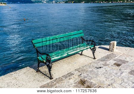 View On Bench On Embankment In Kotor Bay