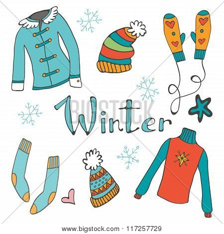 Cute hand drawn collection of winter clothing