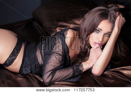 Elegant Sexy Brunette Woman In Bed.