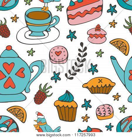 Colorful desserts seamless pattern