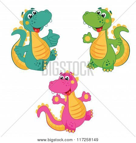 Funny Cartoon Dinosaur in Different Colors. Emerald Dinosaur. Green Dinosaur. Pink Dinosaur.