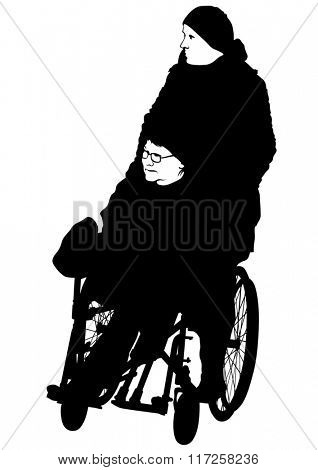 Silhouettes woman in wheelchair on white background
