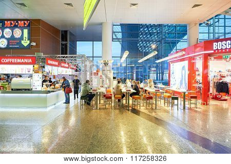 MOSCOW, RUSSIA - AUGUST 19, 2015: interior of Sheremetyevo International Airport. Sheremetyevo International Airport is an international airport located in Khimki, Moscow Oblast.