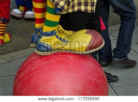 Detail Of Clown Standing On Ball