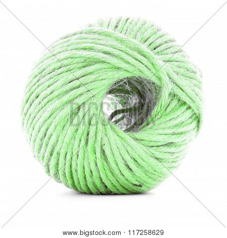 Green Fiber Clew, Sewing Yarn Roll Isolated On White Background