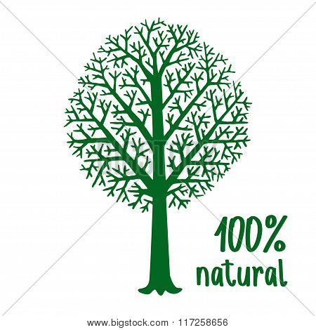 Green Hand Painted Stylized Silhouette Of Tree, Eco Friendly Concept. Ecology Nature Design