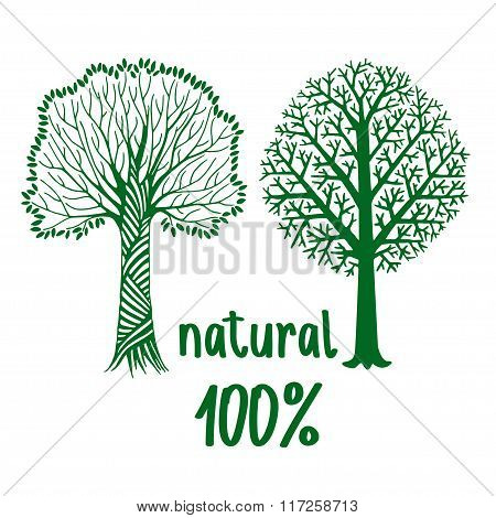 Green Hand Painted Stylized Silhouettes Of Trees, Eco Friendly Concept.