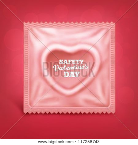 St Valentines Day Card With Heart Saped Condom
