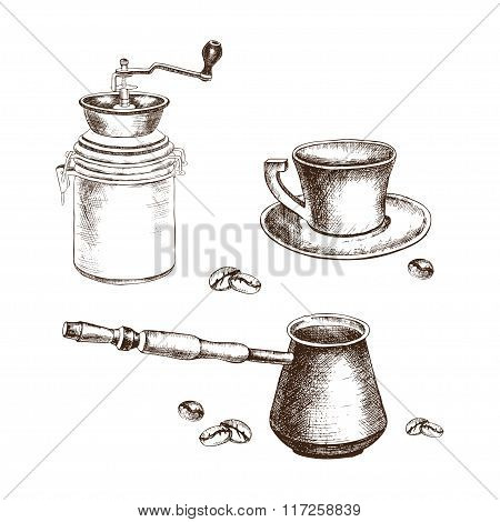 Hand-drawing coffee set with coffee beans