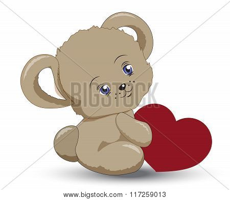Little Teddy Bear With Heart A Valentines