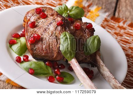 Beef Steak With Pomegranate Seeds And Basil Close-up. Horizontal