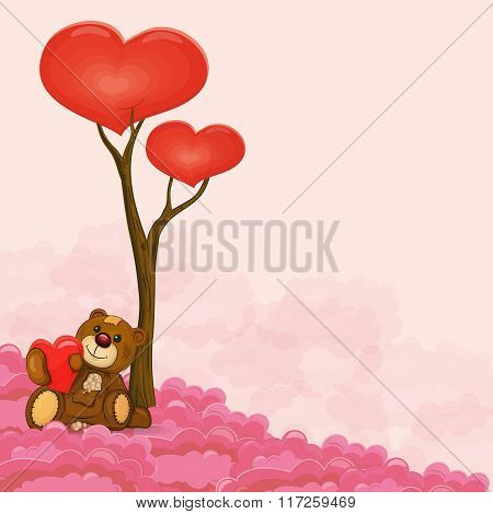 Cute Teddy Bear With Heart In His Hand Near Love Tree Sitting On Cloud