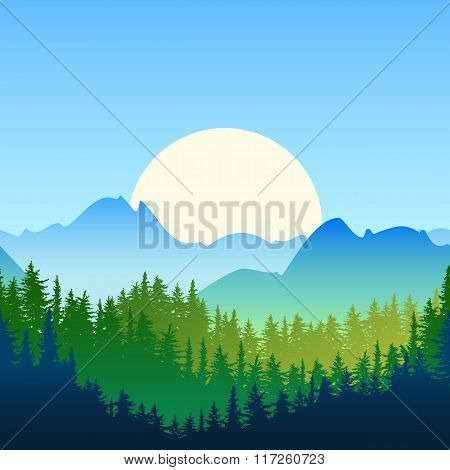Illustration Of Summer Or Spring Landscape. Sun, Mountains, Green Pine And Fir-tree Forest.