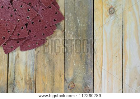 Triangle Sand Papers On Wooden Boards Placed Top Left