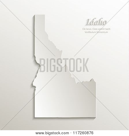 Idaho map card paper 3D natural vector