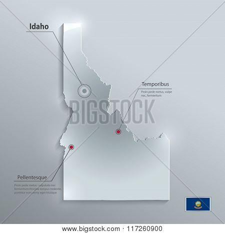 Idaho map flag glass card paper 3D vector