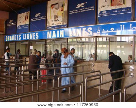 Tunisia, Tunis - May 11, 2013. Cashdesk Of The Tunis Railway Station