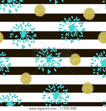 Gold Glitter Confetti Circles And Elements Seamless Pattern On Striped Background