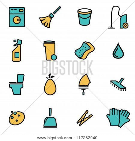 Vector Line Cleaning Icon Set