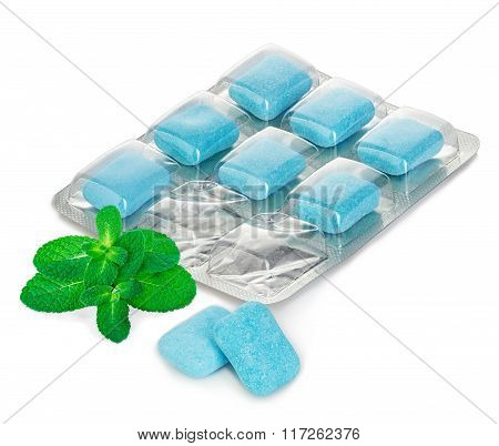 Chewing Gum In Blister With Mint Leaves Close-up On A White Background