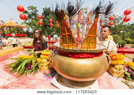 KOH CHANG, THAILAND - JAN 7, 2016: Unidentified participants during the celebration Chinese New Year in Koh Chang Chinese temple. Now begins 4714 year according to traditional lunisolar Chinese calendar.