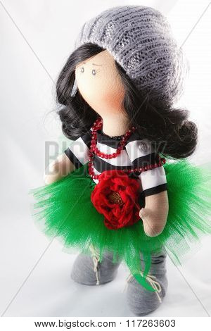 Souvenir Handmade Doll Brunette In A Lush Green Skirt