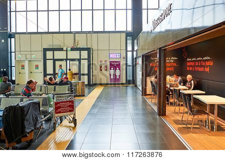 ROME, ITALY - AUGUST 16, 2015: interior of Fiumicino Airport. Fiumicino - Leonardo da Vinci International Airport is a major international airport in Rome, Italy