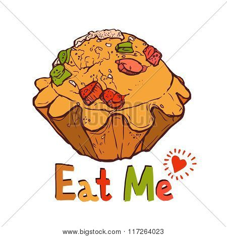 Funny Illustration Of Cupcake With Fruit Pieces And With Text Eat Me.eps